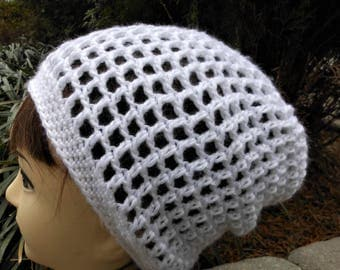 white crochet slouchy hat, open wear hat, spring and summer accessory, casual knit slouch beanie, girls and women accessories, gifts for her