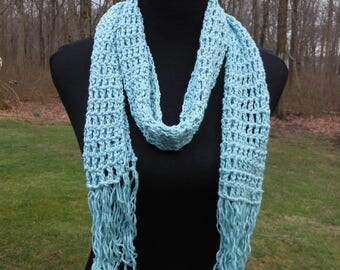 crochet blue open weave scarf, spring summer accessory, young girl scarves, beach / resort accessories, gift for Mother's day or birthdays.