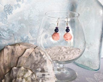 Pink Scallop Shells with Lapis Lazuli and Amethyst