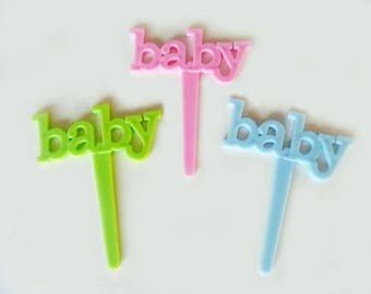 24 Baby Letters Cupcake Picks Cupcake Picks Cake DecoratingToppers Baking Party Supplies Baby Shower