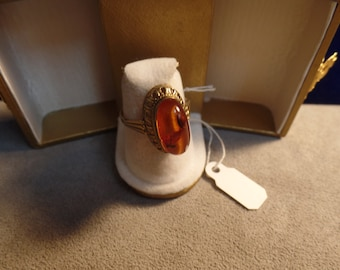 Amber Size 7 1/2 Ring in Gold Fill Setting not marked Mid Century design