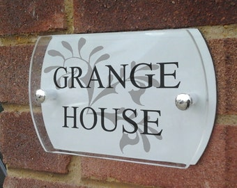 Modern acrylic & aluminium house sign plaque door number with curved edges
