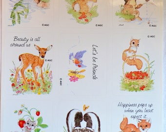 Vintage Stickers - Linda K Powell Animals - A Sheet of 9