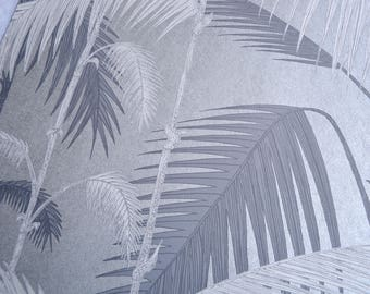 Wallpaper - Cole and Son  Sample Sheet  - 19 x 17  Palm Jungle -  Silver and Grey