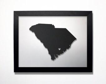 South Carolina Map / Laser Cut Map / South Carolina State Art / South Carolina Art / Framed State Map / South Carolina Gift / Wedding Gift