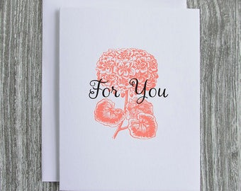 For You - Flower Bouquet - Letterpress Blank Greeting Card on 100% Cotton Paper