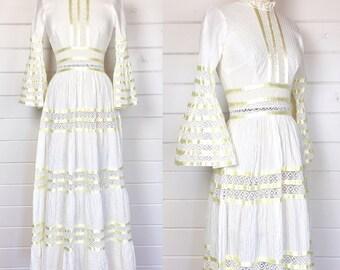 Vintage 1970s Pintucked Mexican Wedding Dress / Crochet Inset / Ribbon Trim / Bell Sleeves / Bohemian Wedding