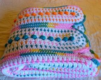 "Vintage Handmade Crochet Afghan Blanket Rainbow Multi-Color 46""x 43"" Scalloped Ends"