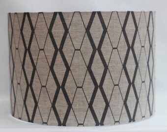 Natural linen handmade drum lampshade featuring charcoal grey geometric design