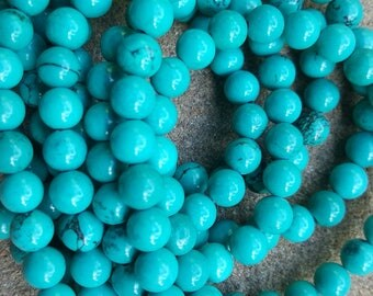 "Natural Sinkiang Turquoise Round Beads, Dyed and Heated, 8mm - 15.5"" Strand"