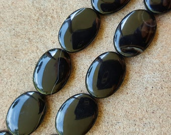 "Natural Gemstone Black Obsidian Flat Oval Beads 25mm x 18mm x 6mm - 15.5"" Strand"