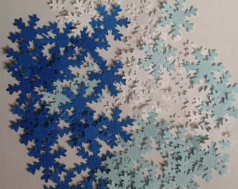 400 hand punched snowflake confetti.