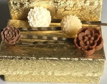 Brown and Ivory Hair Pins/Bobby Pins