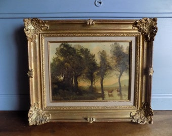 Wonderful, large, atmospheric French antique oil painting of country landscape on canvas, circa late 1800s.