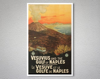 Vesuvius and the Gulf of Naples Vintage Travel Poster - Poster Print, Sticker or Canvas Print