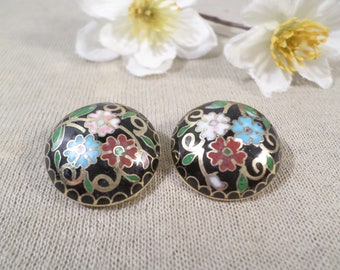 Beautiful Vintage Gold Tone Pair Of Enamel/Closionne Flower Button Clip On Earrings  DL#2735
