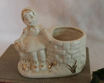 Vintage Girl by the Well Flower Pot or Planter - Vintage White Ceramic with Gold Accents