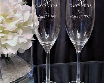 Etched Personalized Champagne Flute (Set of 2), Monogram Champagne Flute, Personalized Monogram Champagne Flute