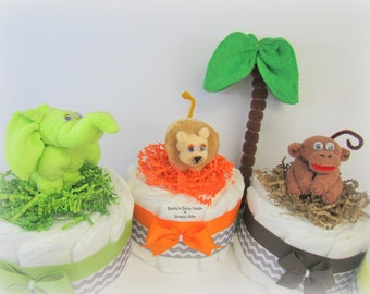 Safari Baby Shower, Safari Shower Centerpiece, Jungle Safari Diaper Cake Topper, Safari Diaper Cake, Jungle Baby Shower,Washcloth Animal