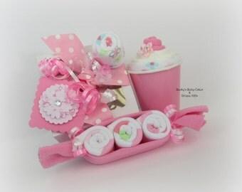 Baby Girl Gift...Baby Girl Gift Set...Onesie Cupcake...Baby Shower Gift..Cupcake Onesie
