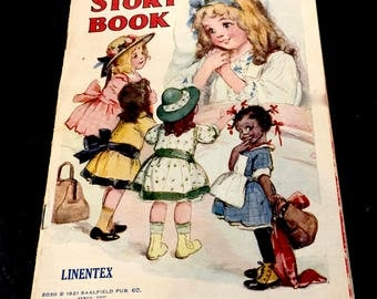 Vintage My Dollies Story Book, Linen Book, Linentex, No. 2030, Saalfield Publishing, Akron OH, Printed in USA,