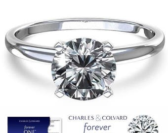 SALE! 14K Gold 1.00 Carat (6.5mm) Moissanite Forever One Solitaire Engagement Ring (with Charles & Colvard authenticity card)