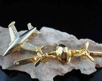 Set of 2 brooch airplane with moving propellers gold airplane  decorated with cz Deco Jewelry   Modernist Graceful  a132