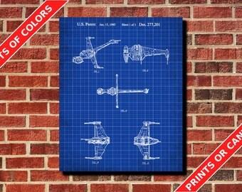 Star Wars B-Wing Patent Print B-Wing Spaceship Blueprint Wall Art Star Wars Poster