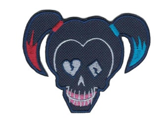 Suicide Squad Harley Quinn Skull Logo Embroidered Iron On Patch Iron on Applique