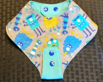 1 Teether-holding Baby Bib - Monsters - super soft flannel. Reversible! Adorable for a boy or girl. A great shower gift!