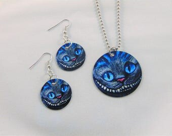 Cheshire Cat Alice In Wonderland Inspired  Earrings and Necklace Set
