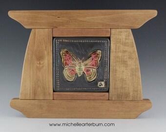 Framed Ceramic Tile - Moth, Craftsmen Style Tile, Art Tile, Ceramic, Tile, Home Decor, Artisan Tile