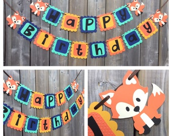 Happy Birthday Fox Banner, Fox Birthday Banner , Fox Themed Banner, Fox Themed Birthday Banner, Fox Party Decorations, Fox Decoration