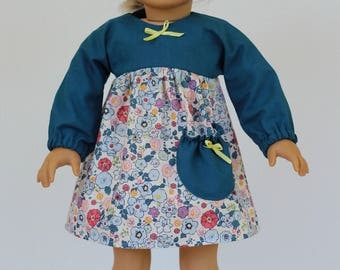 """Long sleeve dress to fit like American Girl Doll Clothes, 18"""" Doll Clothes"""
