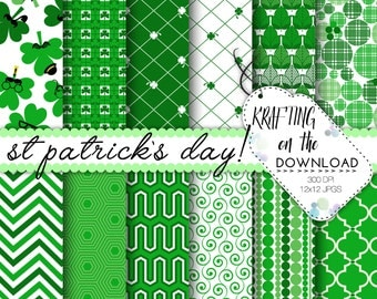 st patrick's day digital paper pack st patricks day digital papers shamrock paper pack st patricks day scrapbooking pages instant download