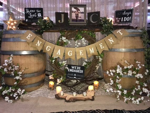 Engagement burlap banner, engagement party
