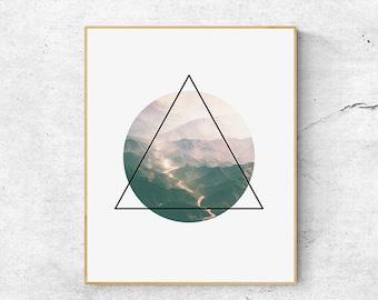 Modern nature prints, Geometric wall art prints, Large abstract wall art printable, Geometric print, Abstract art prints, Printable wall art