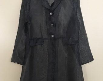 Vintage 70s / 80s Sheer Black Polyester Trench Style Jacket