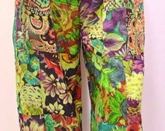 Plus Size Hippie Boho Retro Floral Patchwork Harem Pant Trouser Green 18 20