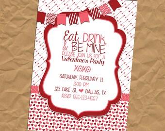 Custom Valentine's Party Invitation - Birthday - Shower