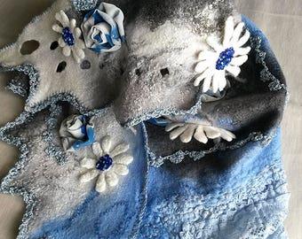 Discount 30% Handmade felted wrap, Wool wrap, Felted shawl, Wool shawl, Felt wrap
