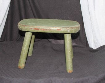 Perfect Green Wood Stool / Rustic / Primitive