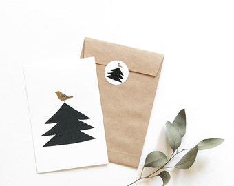 Postcard 'singing bird' +Sticker + Envelope (three of each)