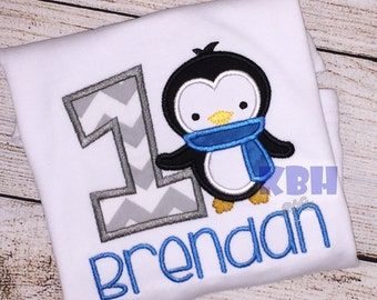 Embroidered penguin birthday shirt