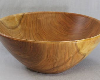 Large hand turned cherry wooden salad bowl