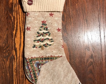 Christmas stocking upcycled from a sweater