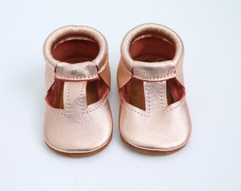 T-Strap Mary Jane Moccasins in Rose Gold