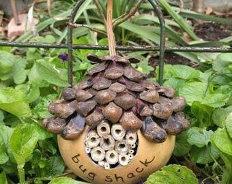 Rustic Gourd Bee/Bug House Home, Shack, handmade Pine Shingle Roof