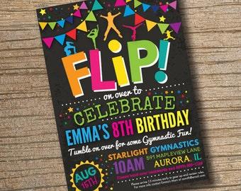 Gymnastics Invitations, Gymnastics Birthday Invitations, Gymnastics Party, Gymnastic Invite Trampoline Invitation Chalkboard (Printable)