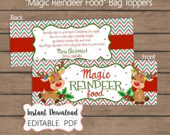 INSTANT DOWNLOAD - Magic Reindeer Food Bag Toppers - Reindeer Food Editable PDF - Sandwich bag Topper - Printable Tags - School Christmas